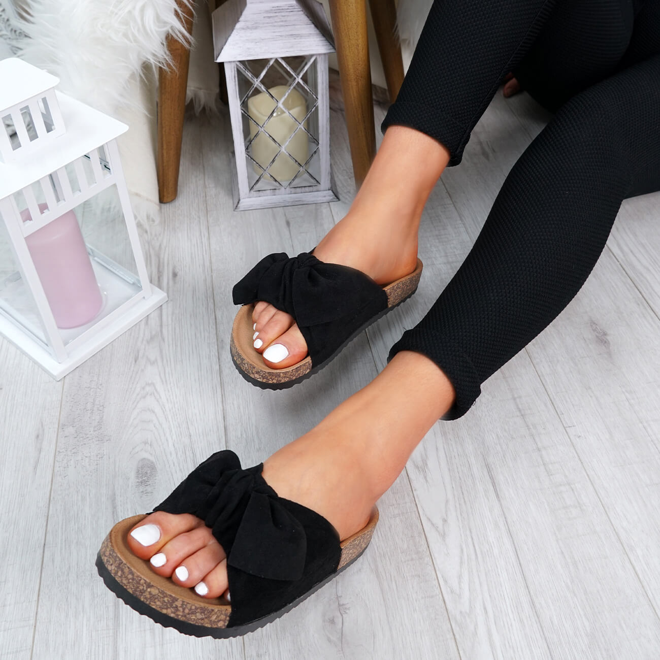 WOMENS-LADIES-SLIP-ON-FLAT-SANDALS-BOW-SLIDERS-SUMMER-CASUAL-SHOES-SIZE thumbnail 12