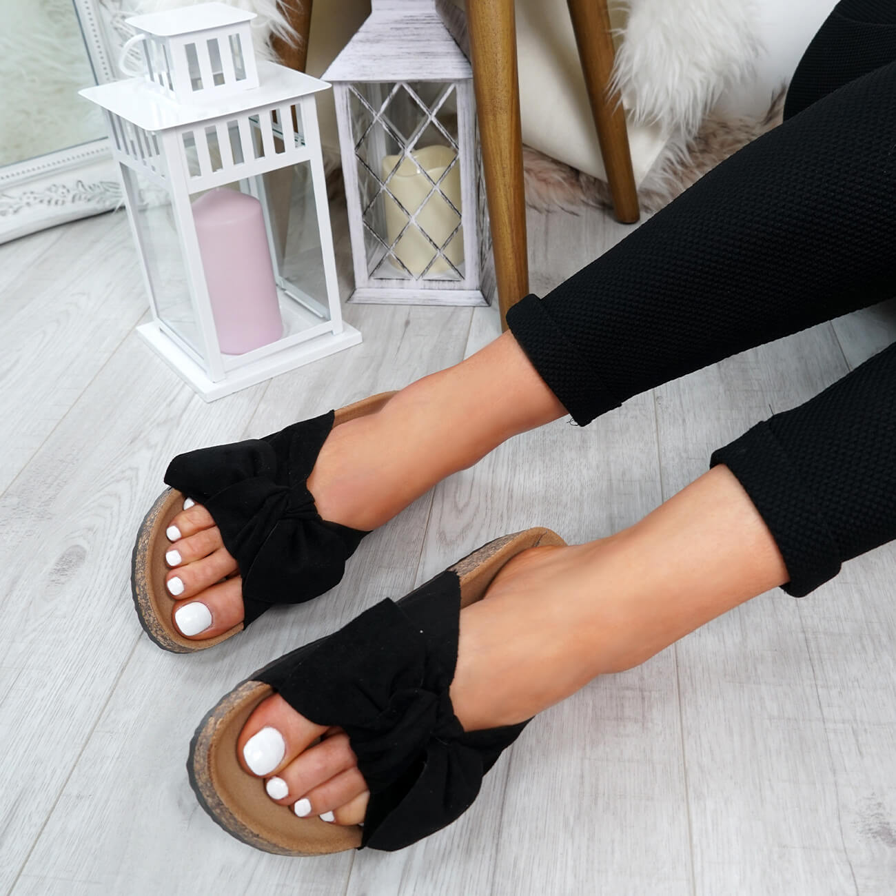WOMENS-LADIES-SLIP-ON-FLAT-SANDALS-BOW-SLIDERS-SUMMER-CASUAL-SHOES-SIZE thumbnail 13