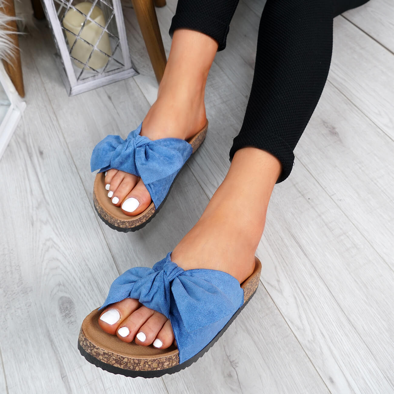 WOMENS-LADIES-SLIP-ON-FLAT-SANDALS-BOW-SLIDERS-SUMMER-CASUAL-SHOES-SIZE thumbnail 18