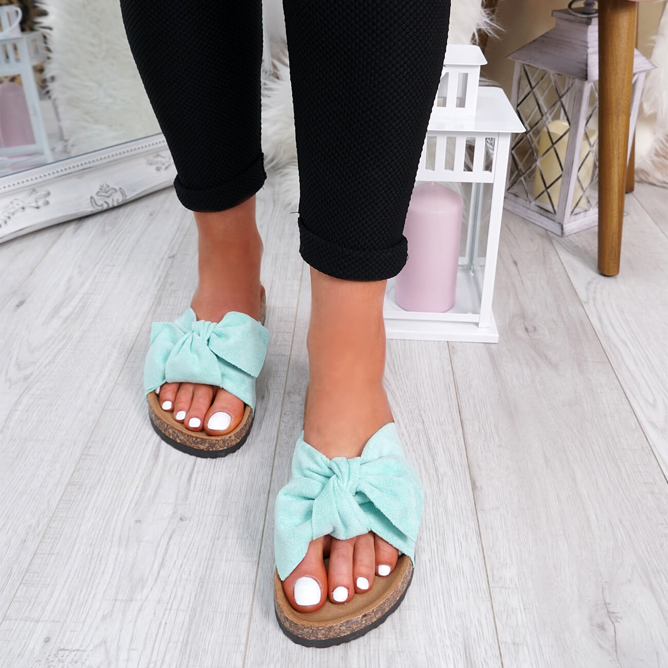 WOMENS-LADIES-SLIP-ON-FLAT-SANDALS-BOW-SLIDERS-SUMMER-CASUAL-SHOES-SIZE thumbnail 22