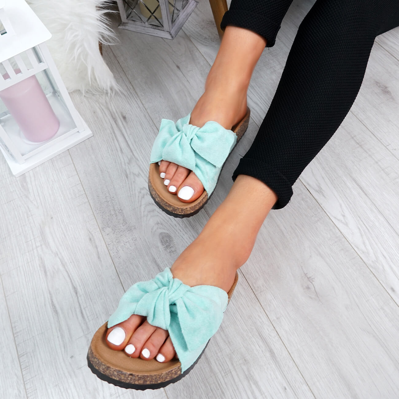 WOMENS-LADIES-SLIP-ON-FLAT-SANDALS-BOW-SLIDERS-SUMMER-CASUAL-SHOES-SIZE thumbnail 23