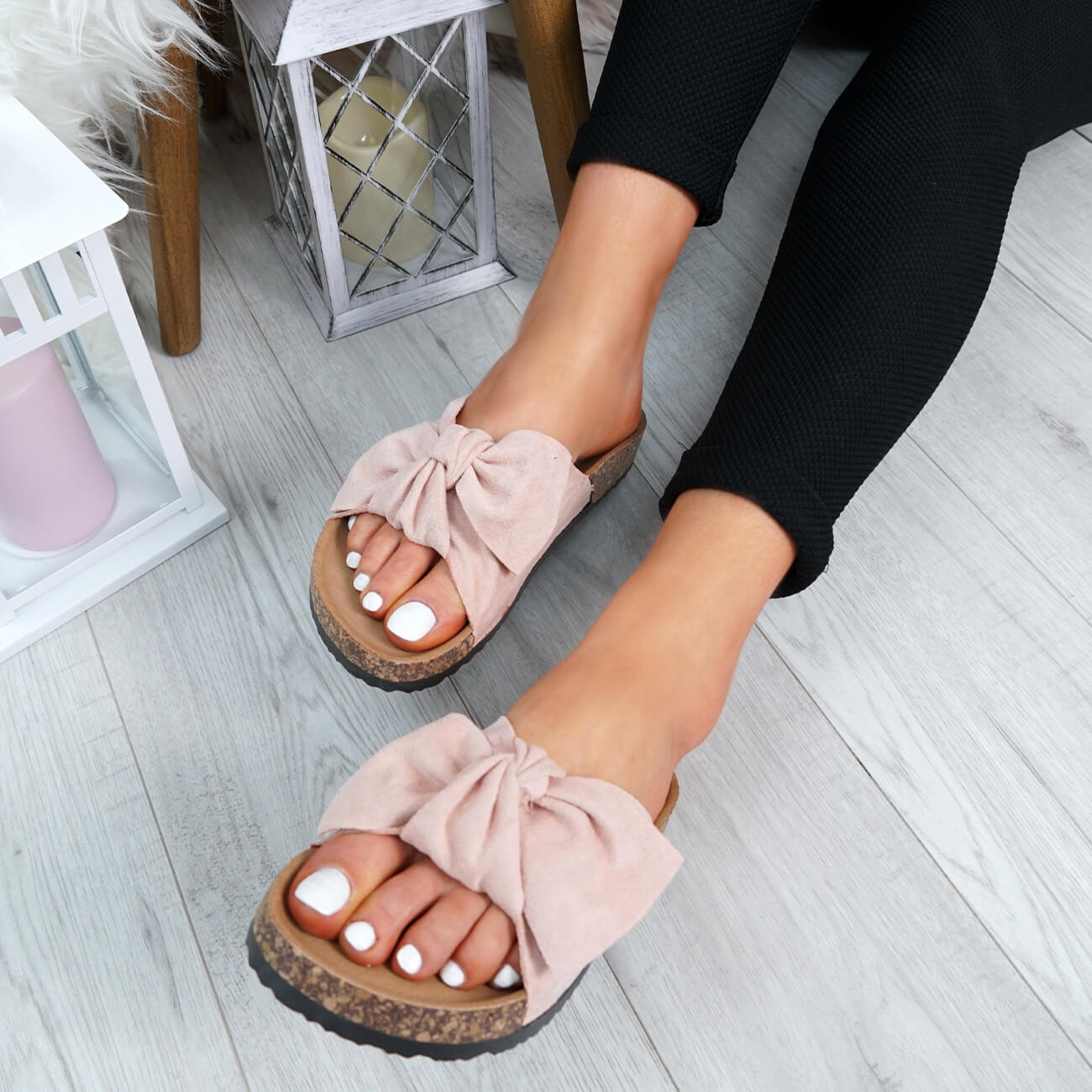 WOMENS-LADIES-SLIP-ON-FLAT-SANDALS-BOW-SLIDERS-SUMMER-CASUAL-SHOES-SIZE thumbnail 32