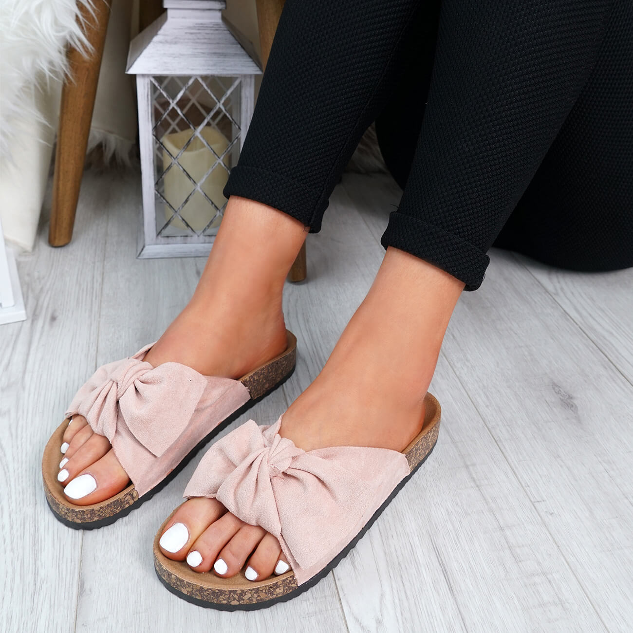 WOMENS-LADIES-SLIP-ON-FLAT-SANDALS-BOW-SLIDERS-SUMMER-CASUAL-SHOES-SIZE thumbnail 33
