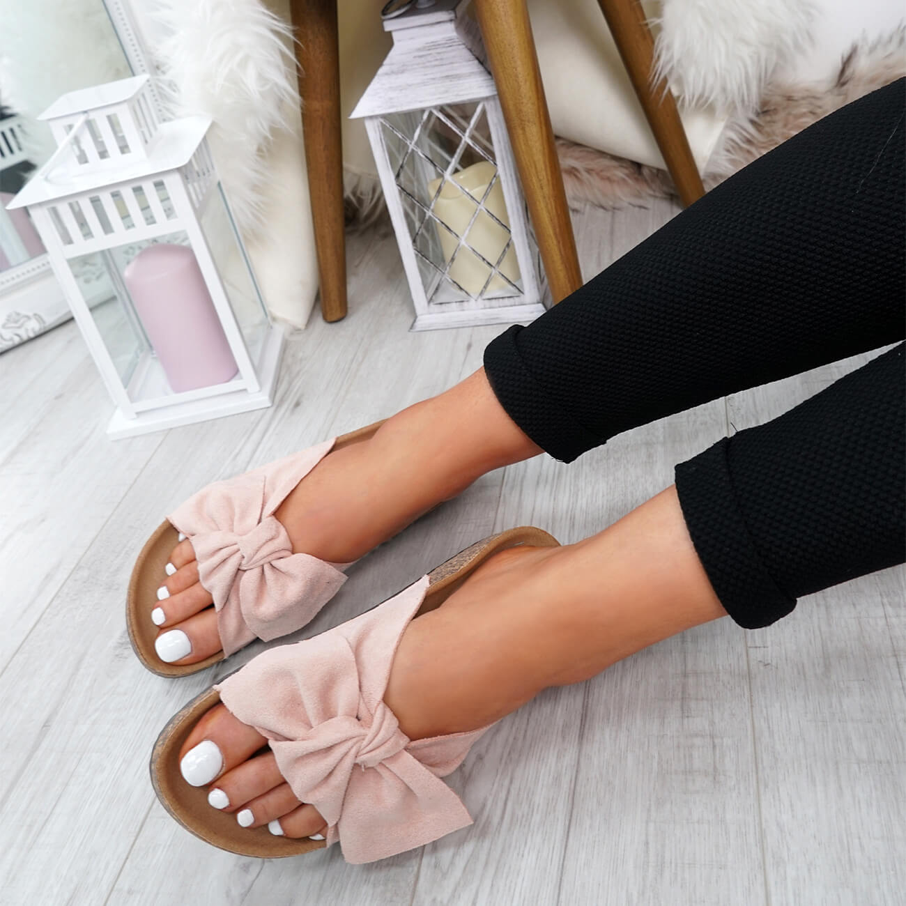 WOMENS-LADIES-SLIP-ON-FLAT-SANDALS-BOW-SLIDERS-SUMMER-CASUAL-SHOES-SIZE thumbnail 34