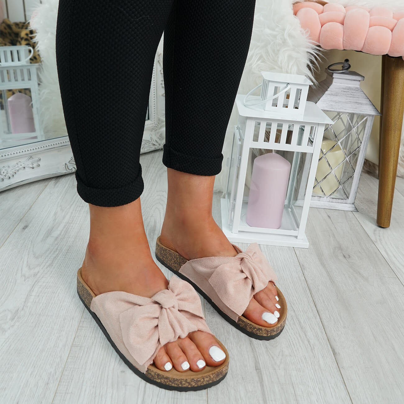 WOMENS-LADIES-SLIP-ON-FLAT-SANDALS-BOW-SLIDERS-SUMMER-CASUAL-SHOES-SIZE thumbnail 35