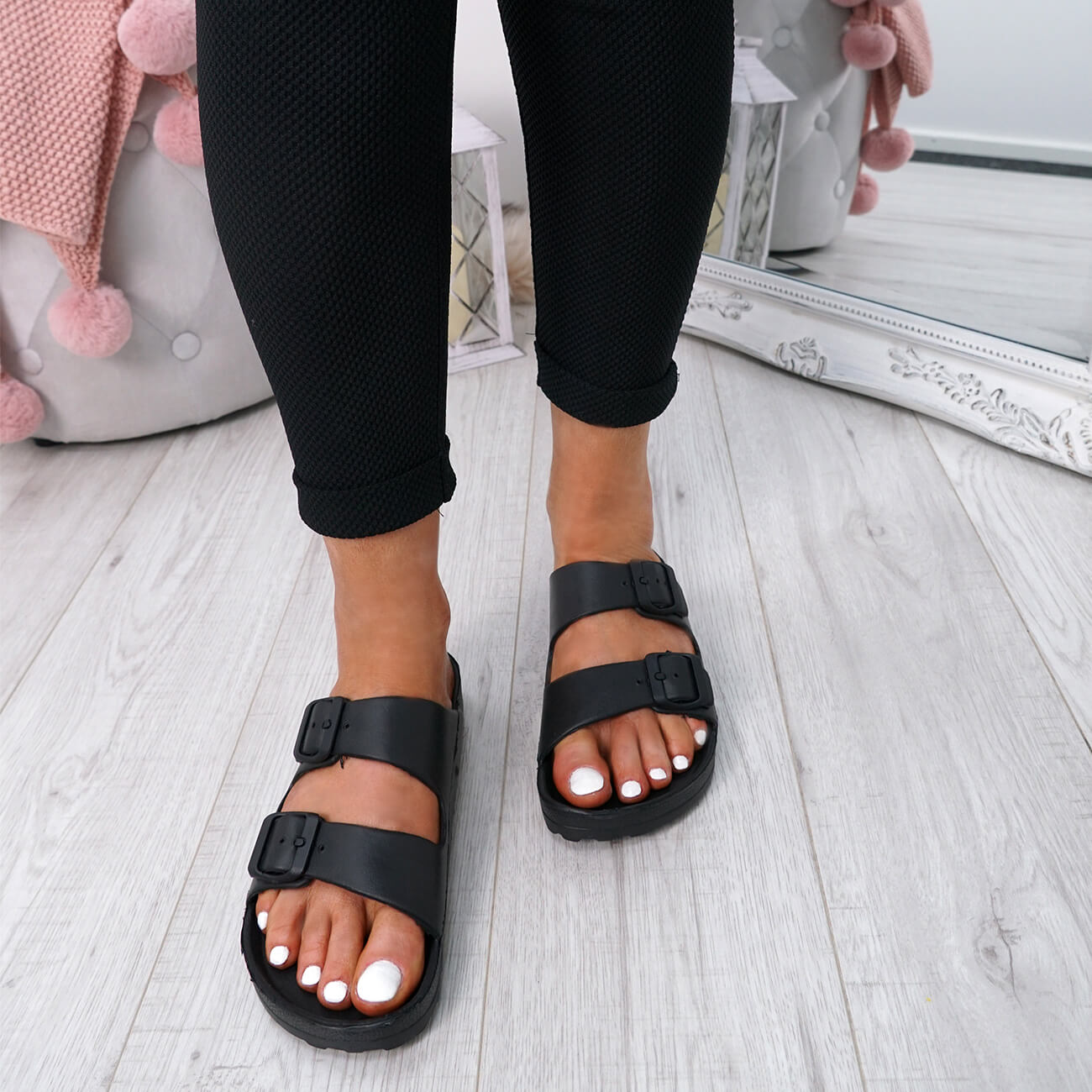 WOMENS-LADIES-SLIP-ON-DOUBLE-BUCKLE-FLAT-SANDALS-SUMMER-SHOES-SIZE-UK thumbnail 7