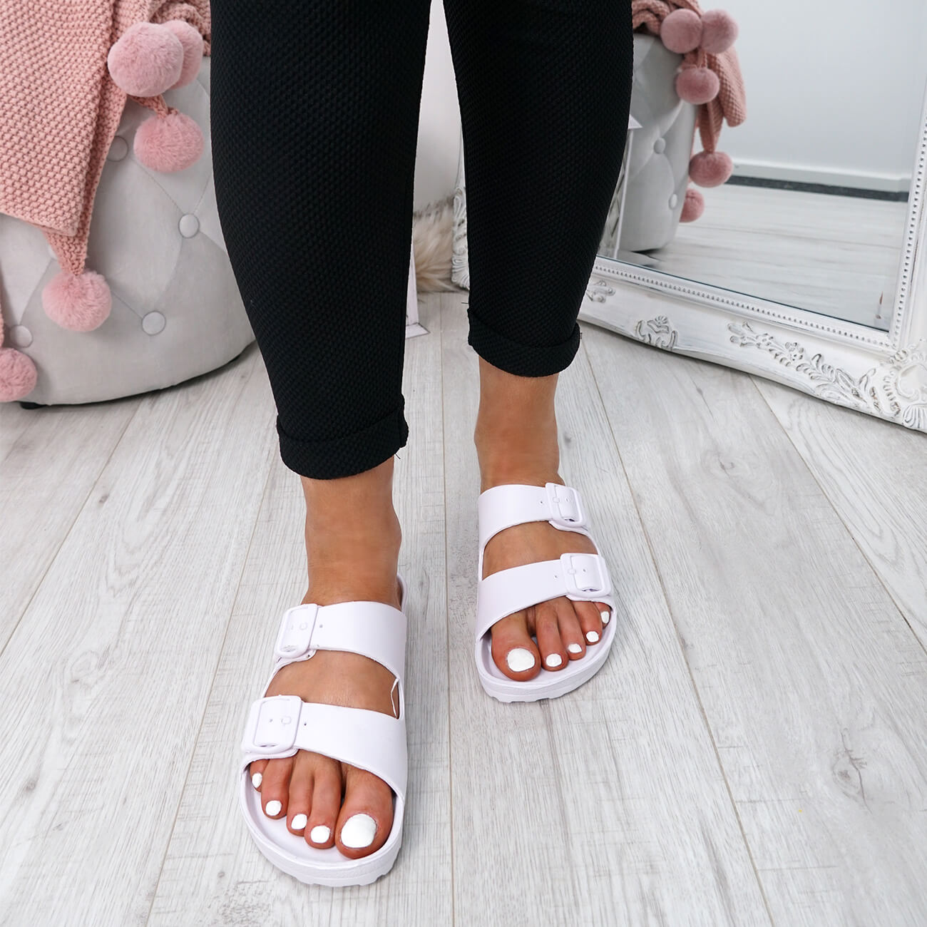 WOMENS-LADIES-SLIP-ON-DOUBLE-BUCKLE-FLAT-SANDALS-SUMMER-SHOES-SIZE-UK thumbnail 12