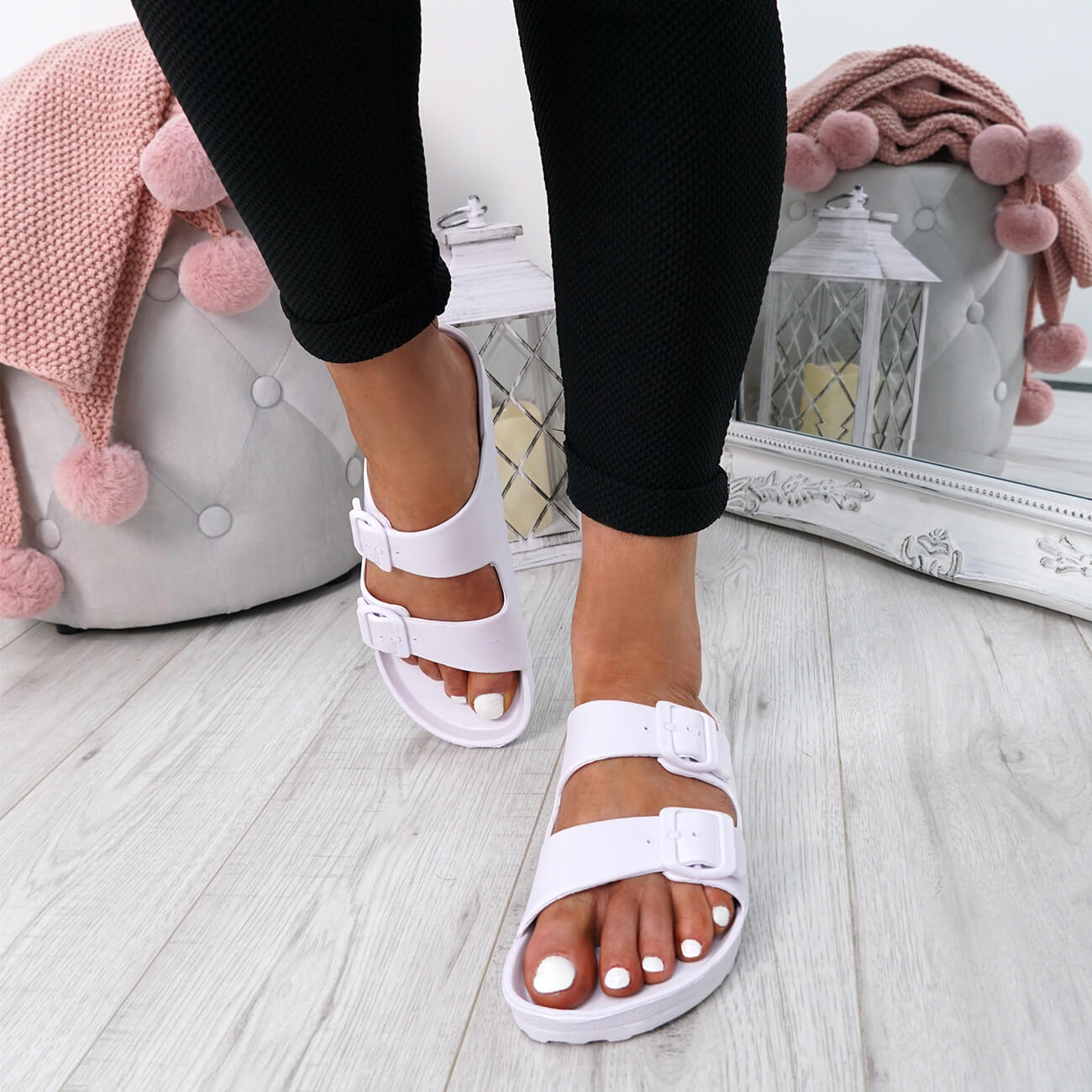 WOMENS-LADIES-SLIP-ON-DOUBLE-BUCKLE-FLAT-SANDALS-SUMMER-SHOES-SIZE-UK thumbnail 14