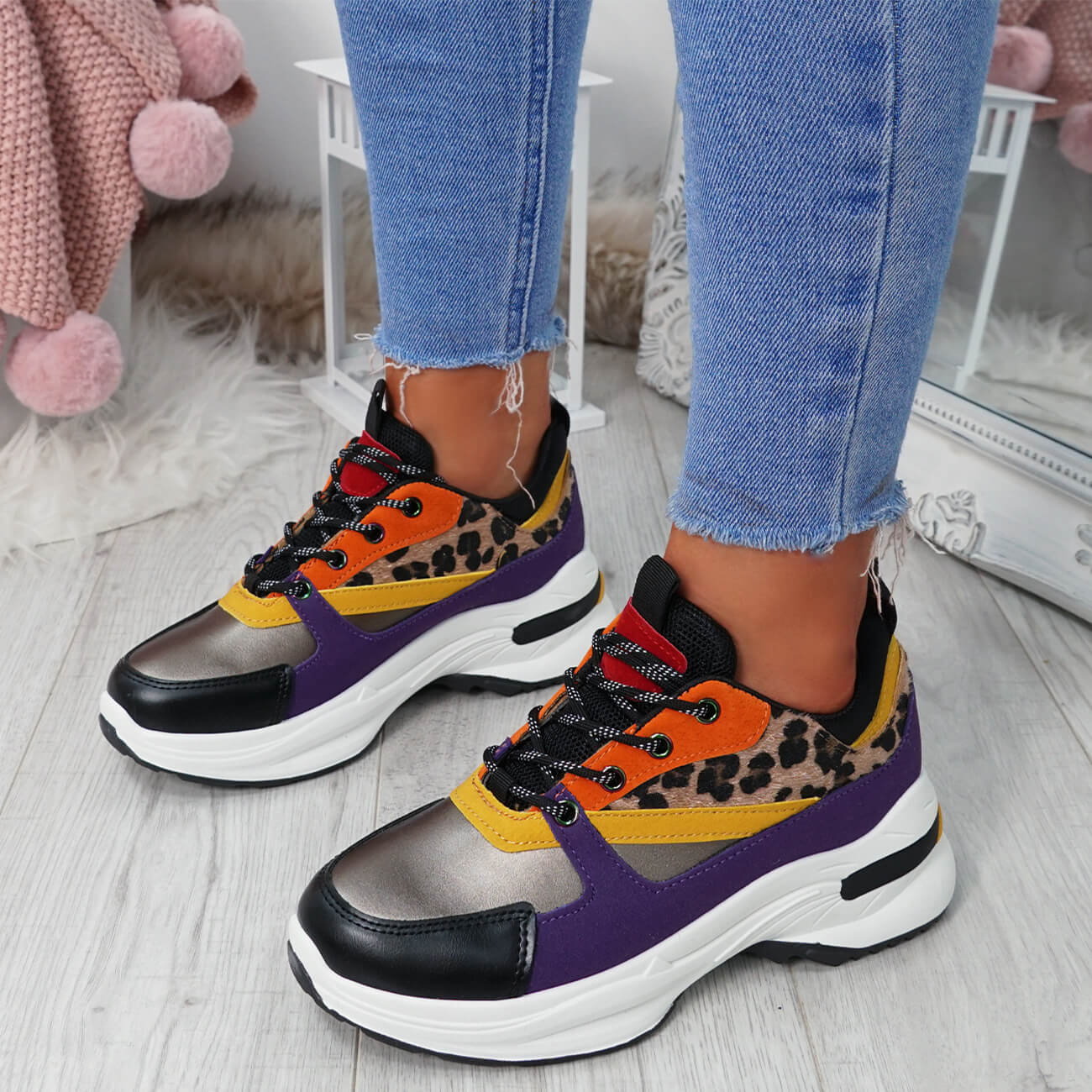 WOMENS-LADIES-LACE-UP-CHUNKY-TRAINERS-SNAKE-CROC-PATTERN-GLITTER-SHOES-SNEAKERS thumbnail 15
