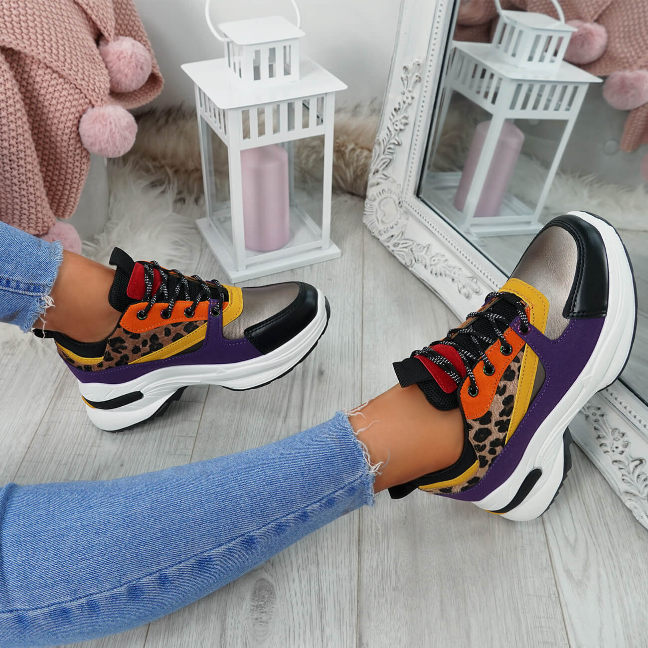 WOMENS-LADIES-LACE-UP-CHUNKY-TRAINERS-SNAKE-CROC-PATTERN-GLITTER-SHOES-SNEAKERS thumbnail 17