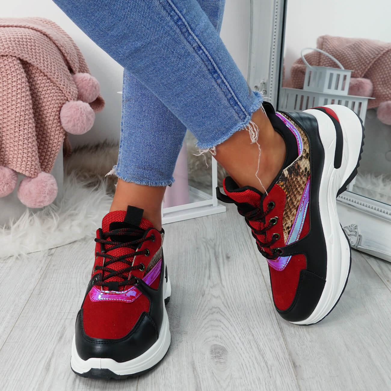 WOMENS-LADIES-LACE-UP-CHUNKY-TRAINERS-SNAKE-CROC-PATTERN-GLITTER-SHOES-SNEAKERS thumbnail 24