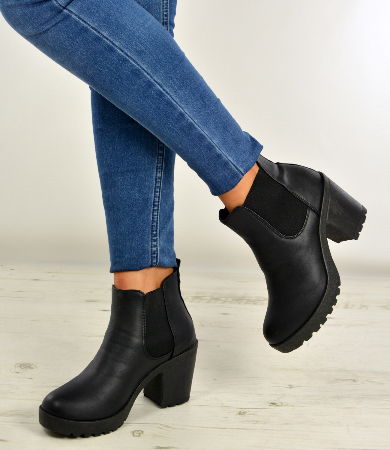 New-Womens-Ankle-Chelsea-Boots-Chunky-Block-Heels-Platform-Shoes-Size-Uk-3-8