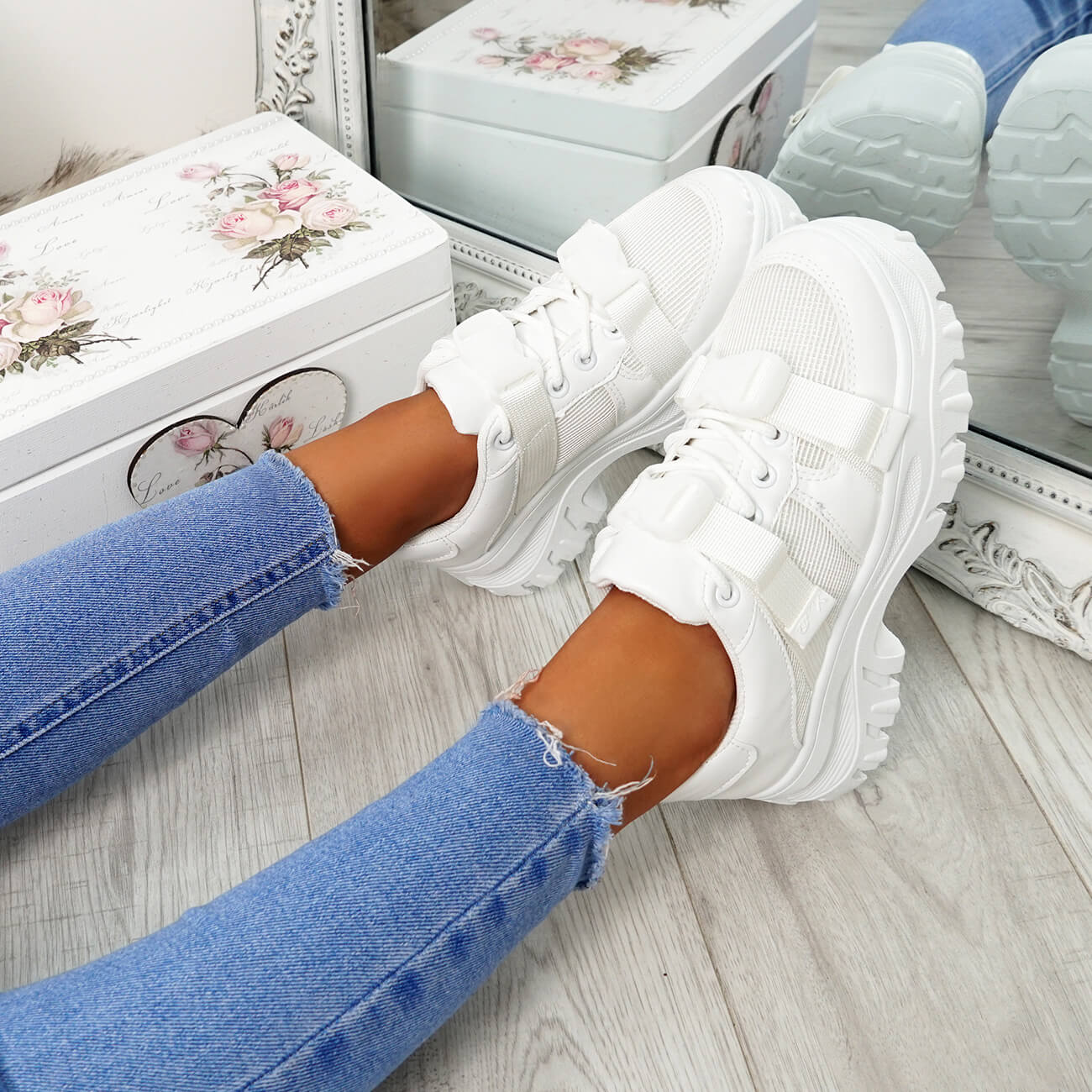 New Womens Ladies Lace Up Chunky Trainers Platform Fashion Pimsoll Shoes Size