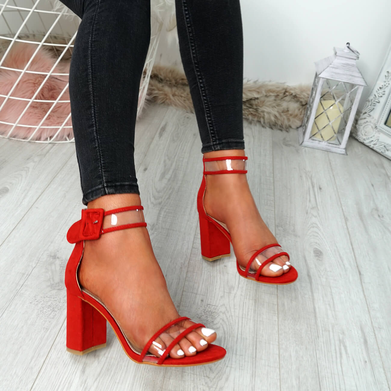 WOMENS-LADIES-ANKLE-STRAP-PEEP-TOE-HIGH-BLOCK-HEEL-SANDALS-FASHION-SHOES thumbnail 27