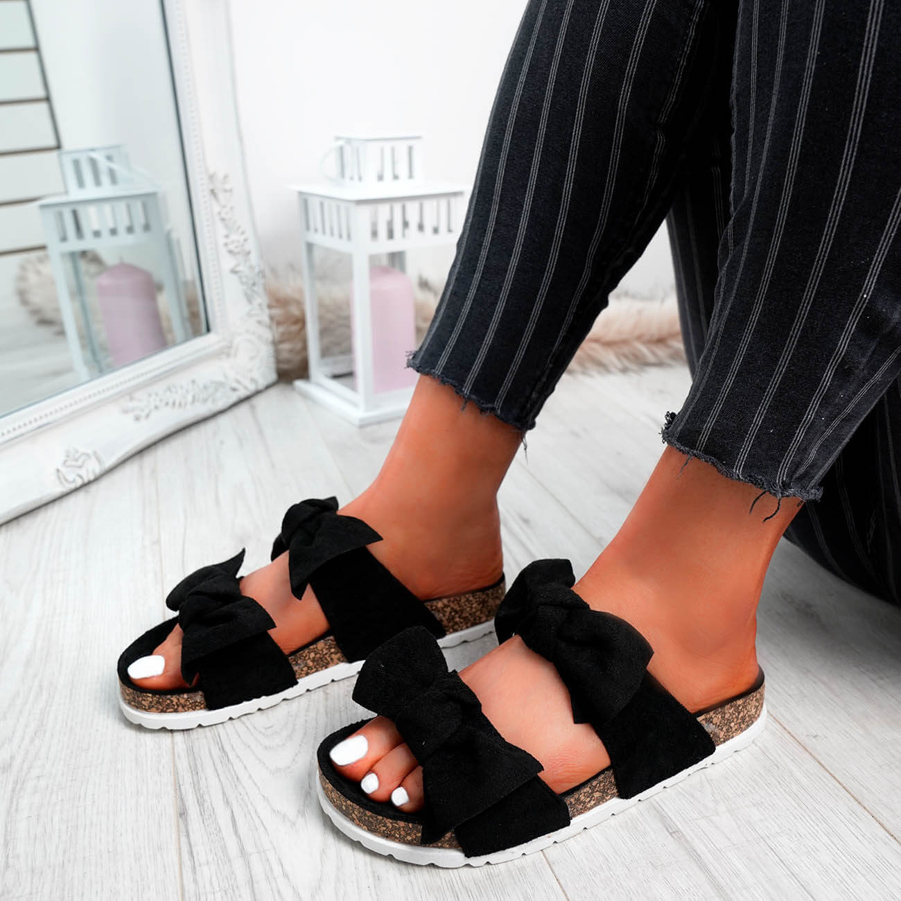 WOMENS-LADIES-PEEP-TOE-SLIP-ON-DOUBLE-BOW-FLAT-SANDALS-PARTY-CLUB-SUMMER-SHOES thumbnail 14