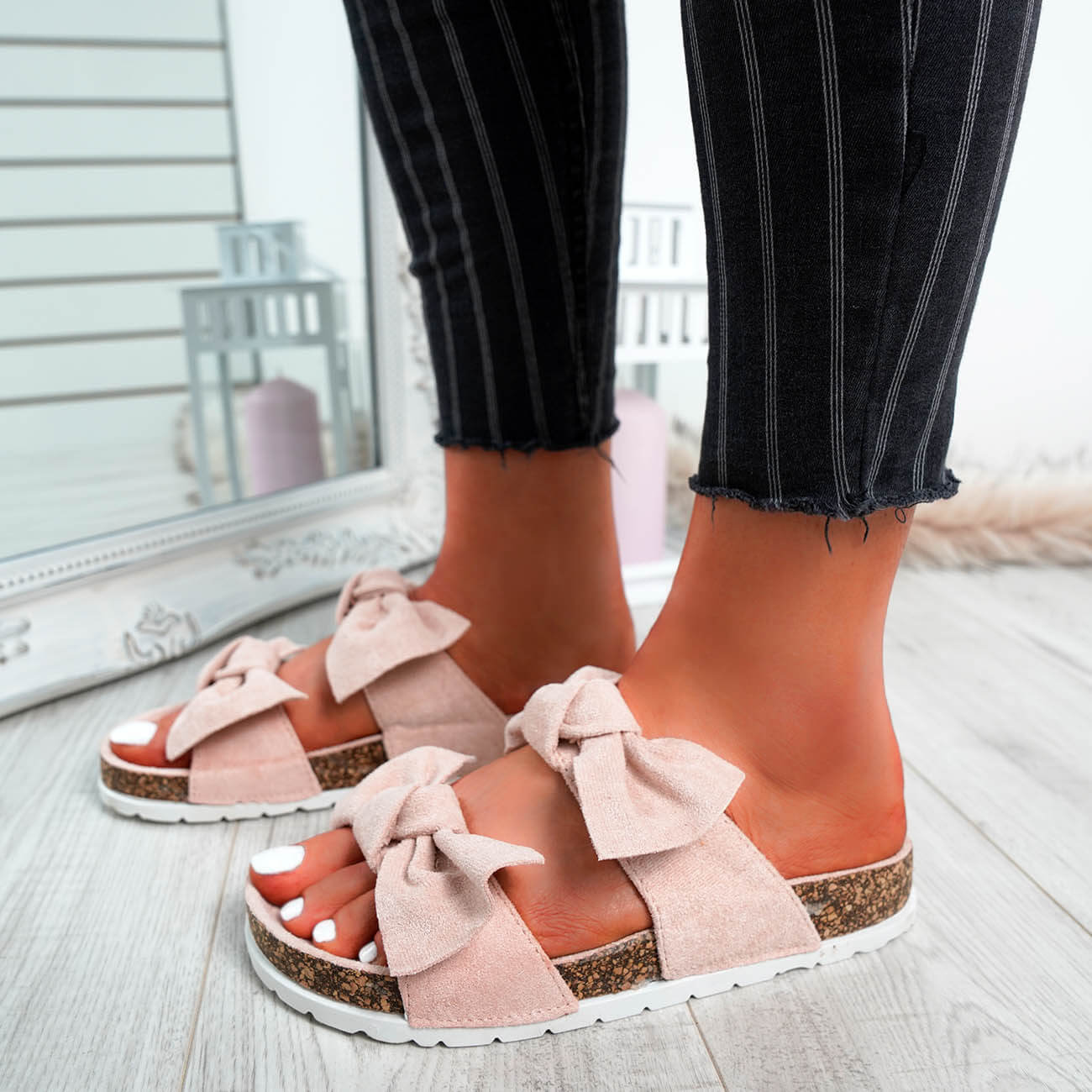 WOMENS-LADIES-PEEP-TOE-SLIP-ON-DOUBLE-BOW-FLAT-SANDALS-PARTY-CLUB-SUMMER-SHOES thumbnail 40