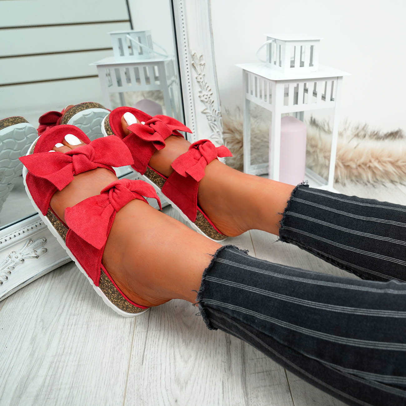 WOMENS-LADIES-PEEP-TOE-SLIP-ON-DOUBLE-BOW-FLAT-SANDALS-PARTY-CLUB-SUMMER-SHOES thumbnail 42