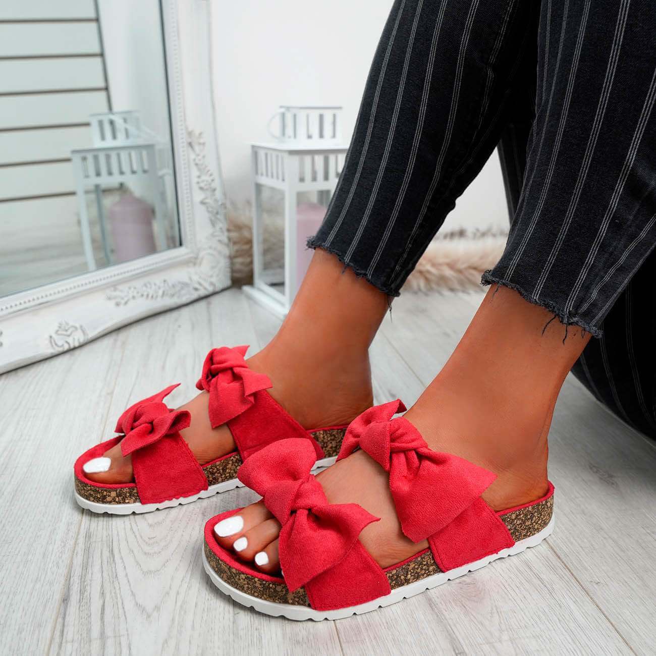 WOMENS-LADIES-PEEP-TOE-SLIP-ON-DOUBLE-BOW-FLAT-SANDALS-PARTY-CLUB-SUMMER-SHOES thumbnail 44