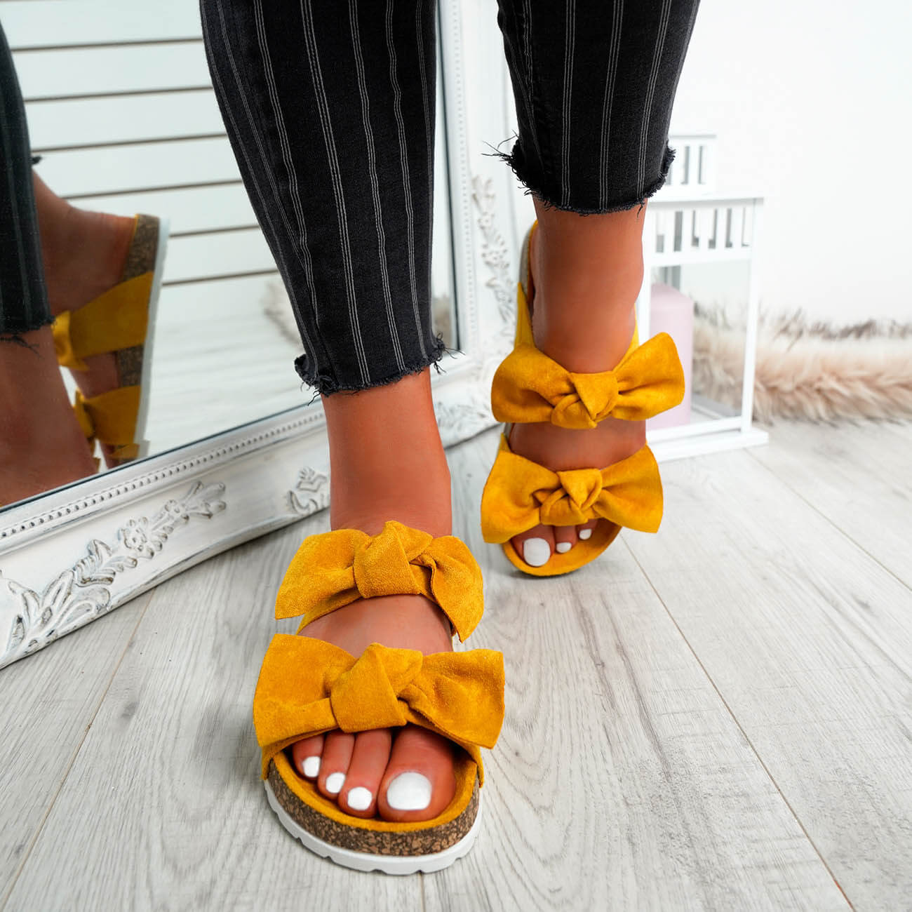 WOMENS-LADIES-PEEP-TOE-SLIP-ON-DOUBLE-BOW-FLAT-SANDALS-PARTY-CLUB-SUMMER-SHOES thumbnail 50