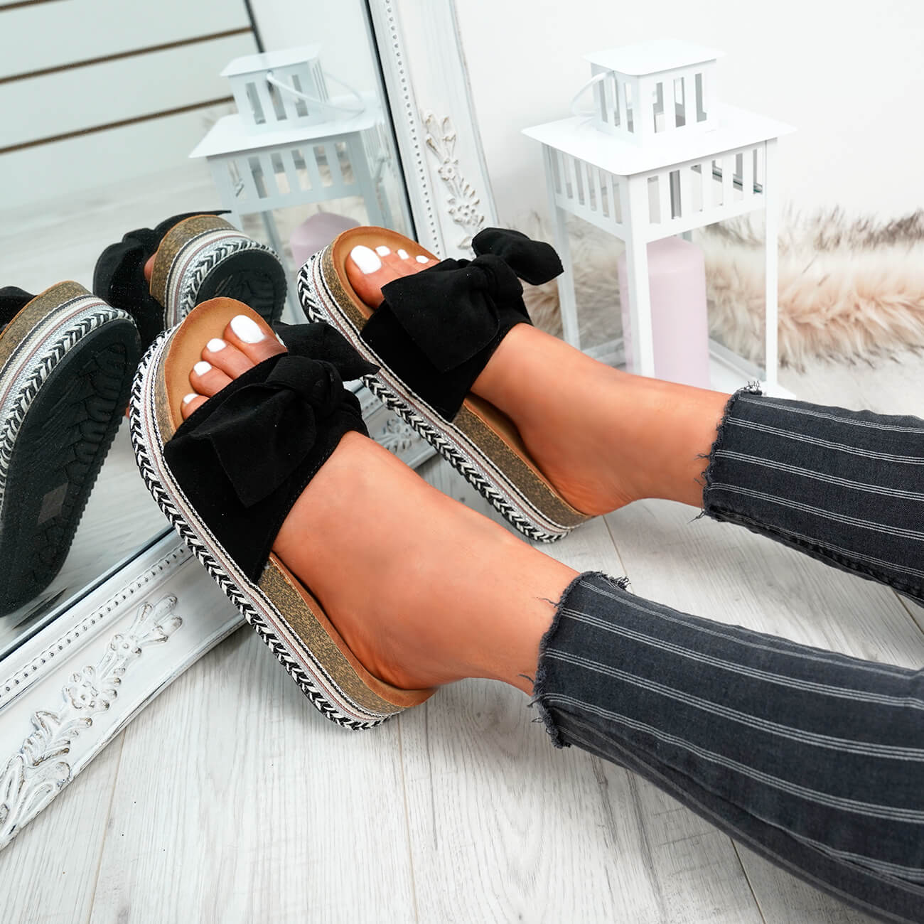 WOMENS-LADIES-BOW-SLIDERS-SLIP-ON-FLATFORMS-SUMMER-PARTY-SANDALS-SHOES-SIZE thumbnail 8
