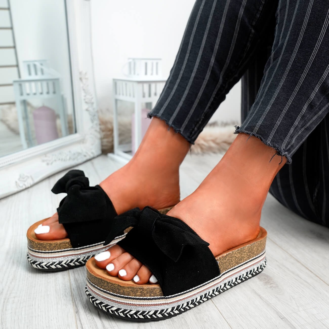 WOMENS-LADIES-BOW-SLIDERS-SLIP-ON-FLATFORMS-SUMMER-PARTY-SANDALS-SHOES-SIZE thumbnail 9