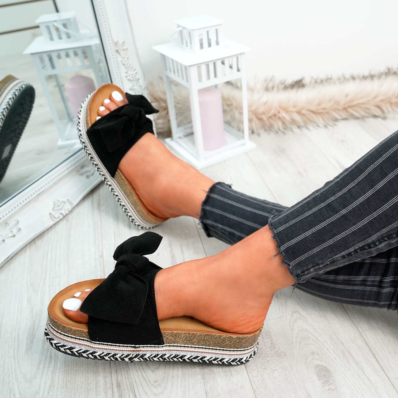 WOMENS-LADIES-BOW-SLIDERS-SLIP-ON-FLATFORMS-SUMMER-PARTY-SANDALS-SHOES-SIZE thumbnail 10