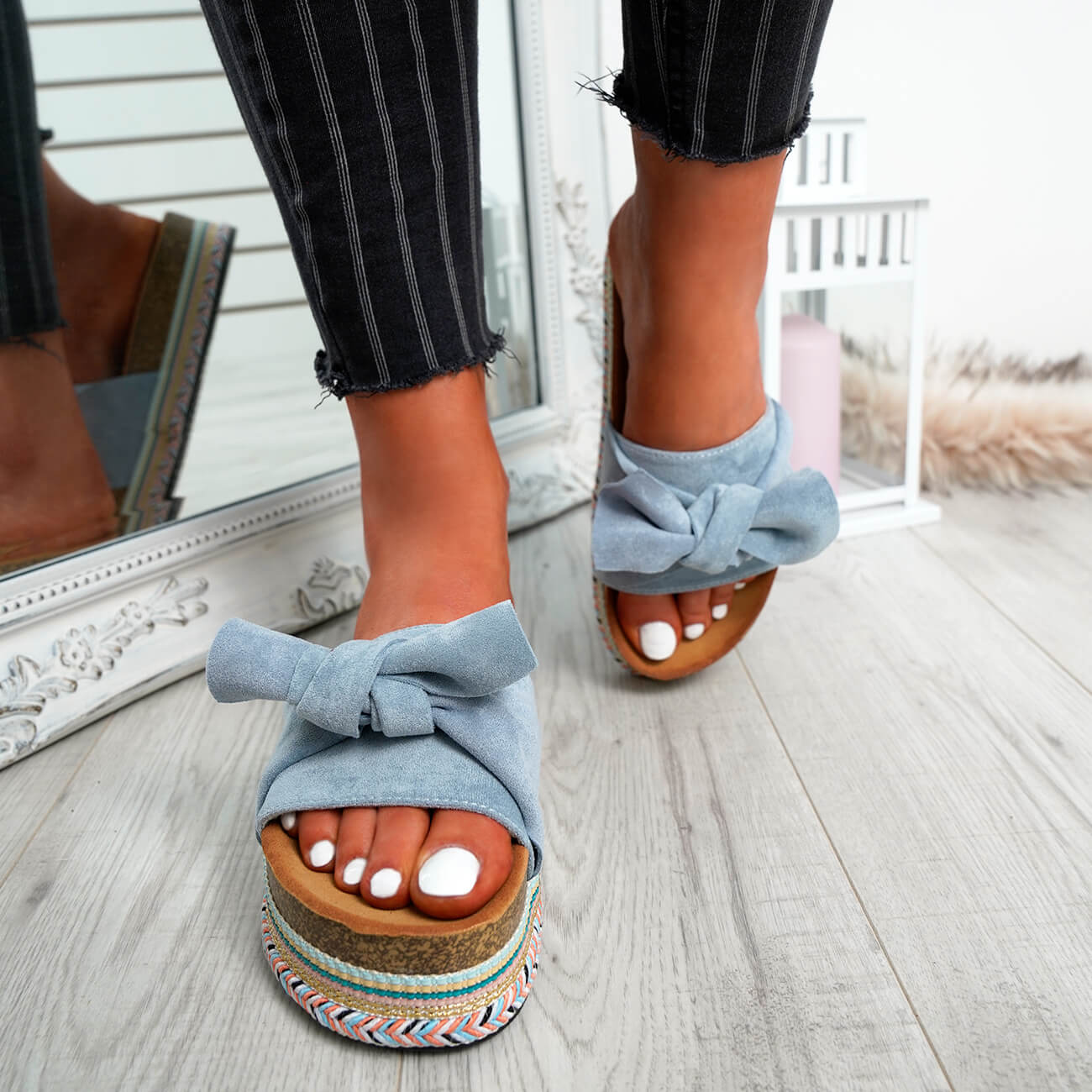 WOMENS-LADIES-BOW-SLIDERS-SLIP-ON-FLATFORMS-SUMMER-PARTY-SANDALS-SHOES-SIZE thumbnail 12