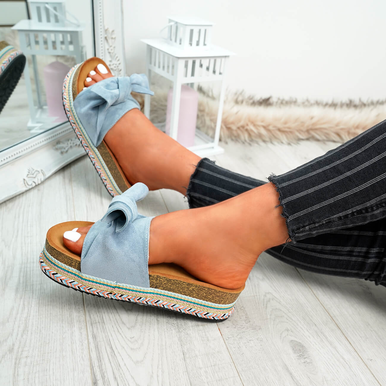 WOMENS-LADIES-BOW-SLIDERS-SLIP-ON-FLATFORMS-SUMMER-PARTY-SANDALS-SHOES-SIZE thumbnail 13