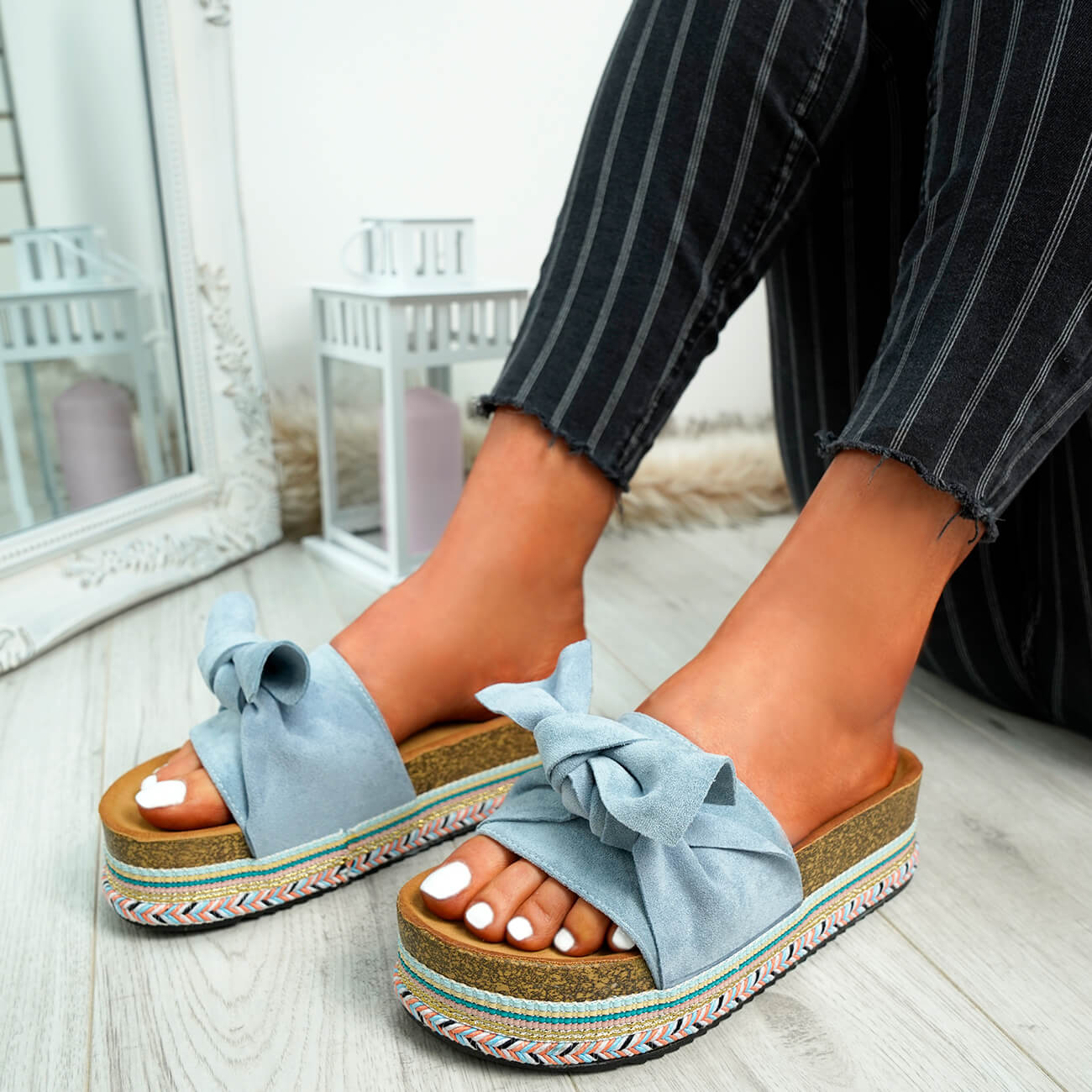 WOMENS-LADIES-BOW-SLIDERS-SLIP-ON-FLATFORMS-SUMMER-PARTY-SANDALS-SHOES-SIZE thumbnail 14