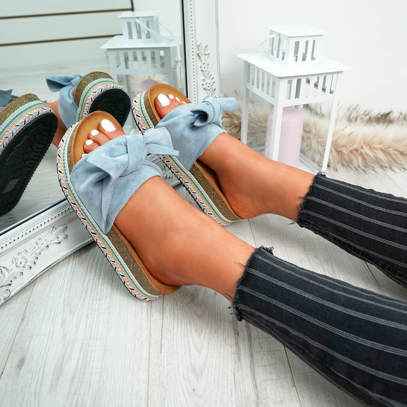 WOMENS-LADIES-BOW-SLIDERS-SLIP-ON-FLATFORMS-SUMMER-PARTY-SANDALS-SHOES-SIZE thumbnail 15