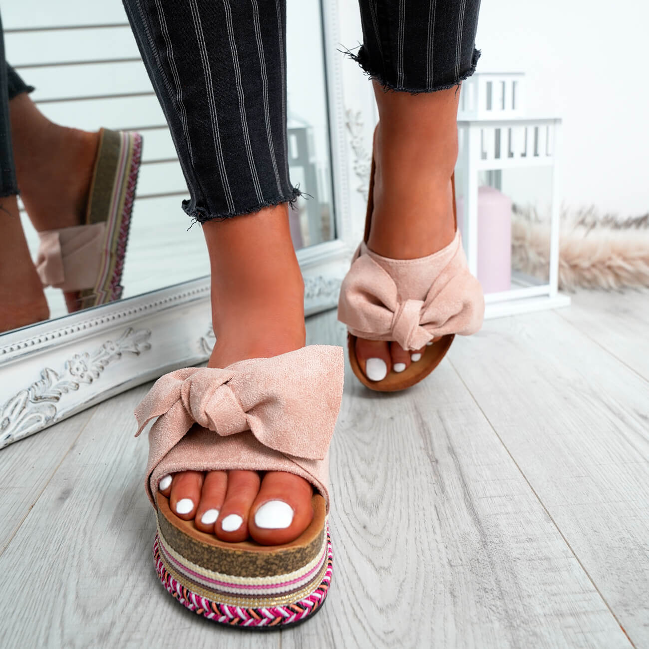 WOMENS-LADIES-BOW-SLIDERS-SLIP-ON-FLATFORMS-SUMMER-PARTY-SANDALS-SHOES-SIZE thumbnail 17