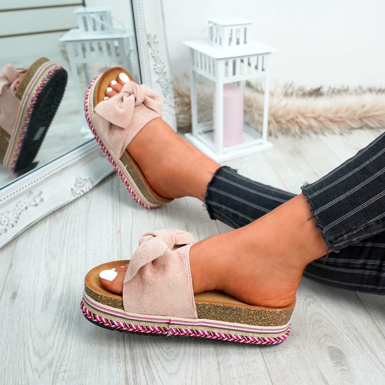 WOMENS-LADIES-BOW-SLIDERS-SLIP-ON-FLATFORMS-SUMMER-PARTY-SANDALS-SHOES-SIZE thumbnail 19