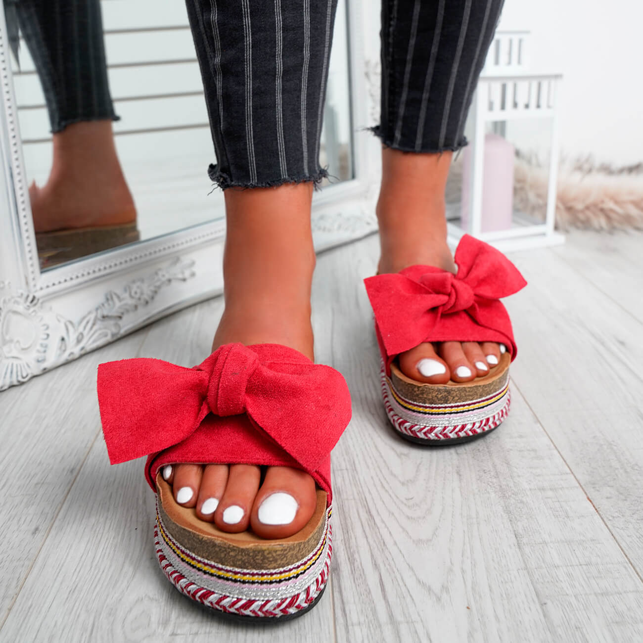 WOMENS-LADIES-BOW-SLIDERS-SLIP-ON-FLATFORMS-SUMMER-PARTY-SANDALS-SHOES-SIZE thumbnail 22