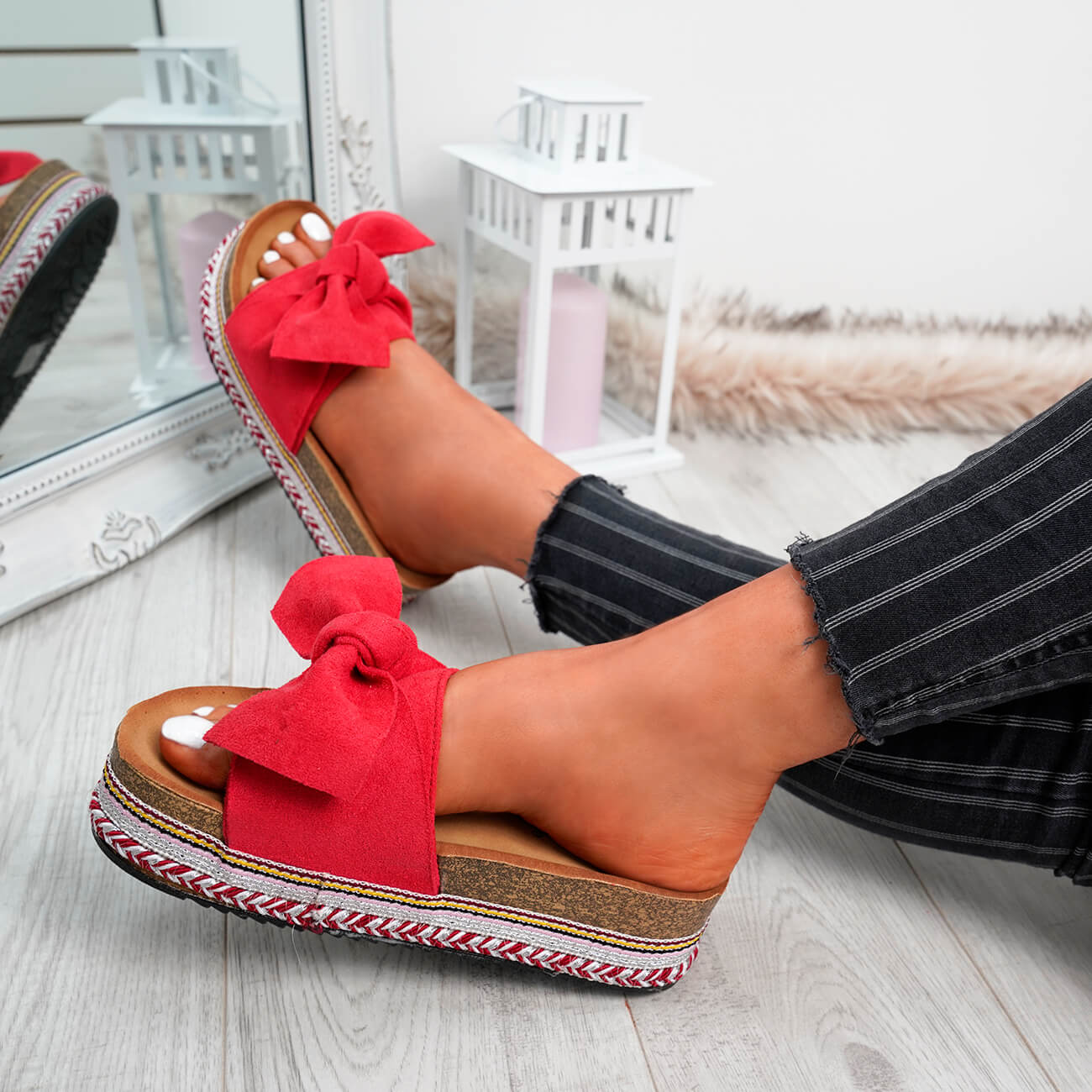 WOMENS-LADIES-BOW-SLIDERS-SLIP-ON-FLATFORMS-SUMMER-PARTY-SANDALS-SHOES-SIZE thumbnail 24
