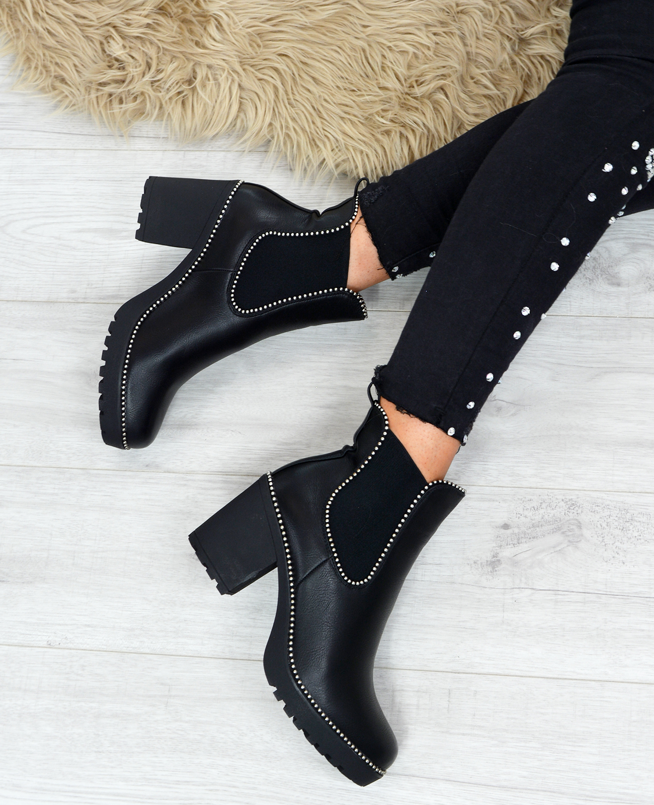 LADIES-WOMENS-CHELSEA-ANKLE-BOOTS-STUDDED-BLOCK-HEELS-ELASTIC-SHOES-SIZES-UK