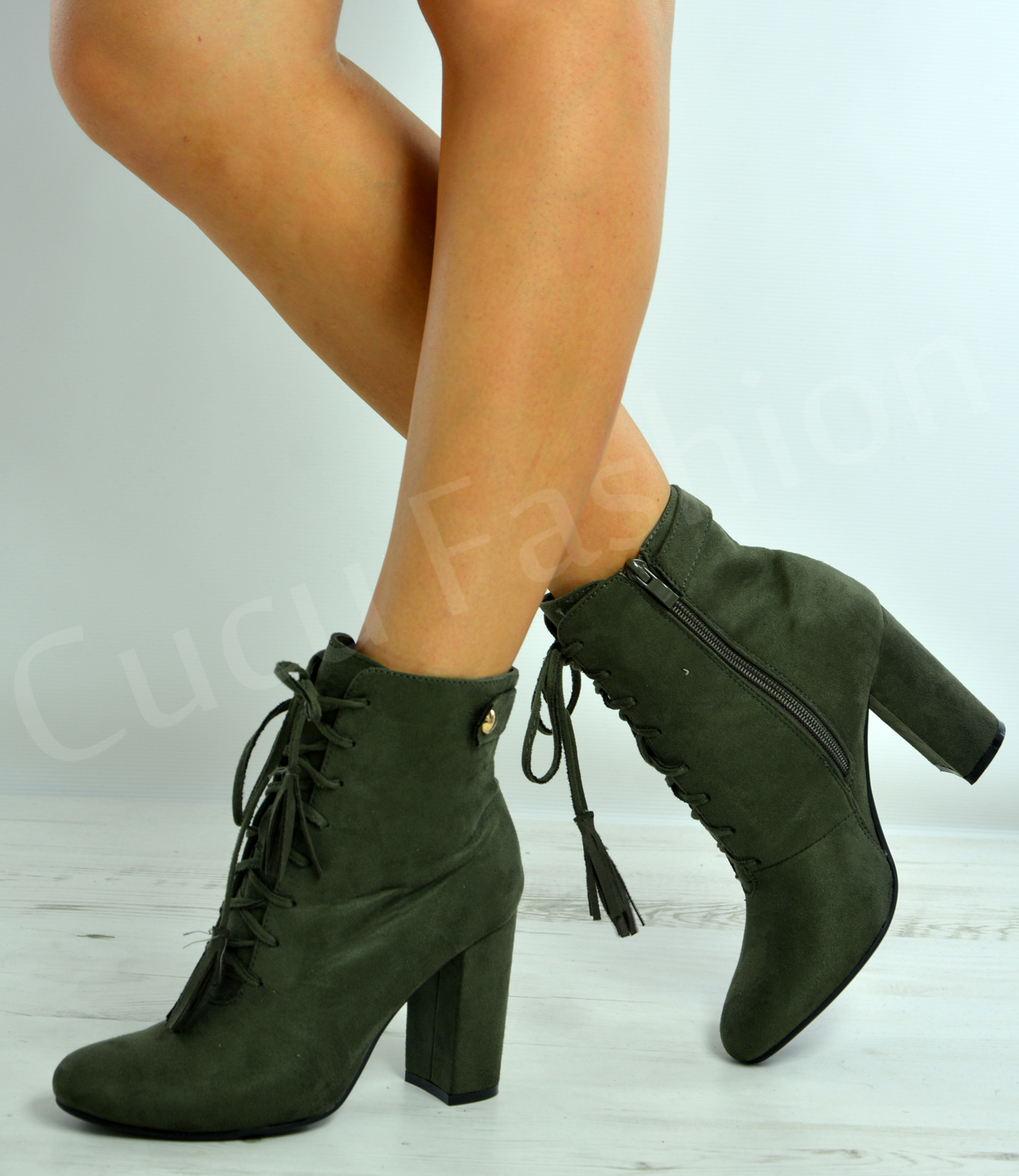 0469c73dc295 New Womens Ankle Boots Ladies High Block Heel Lace Up Fringe Shoes .