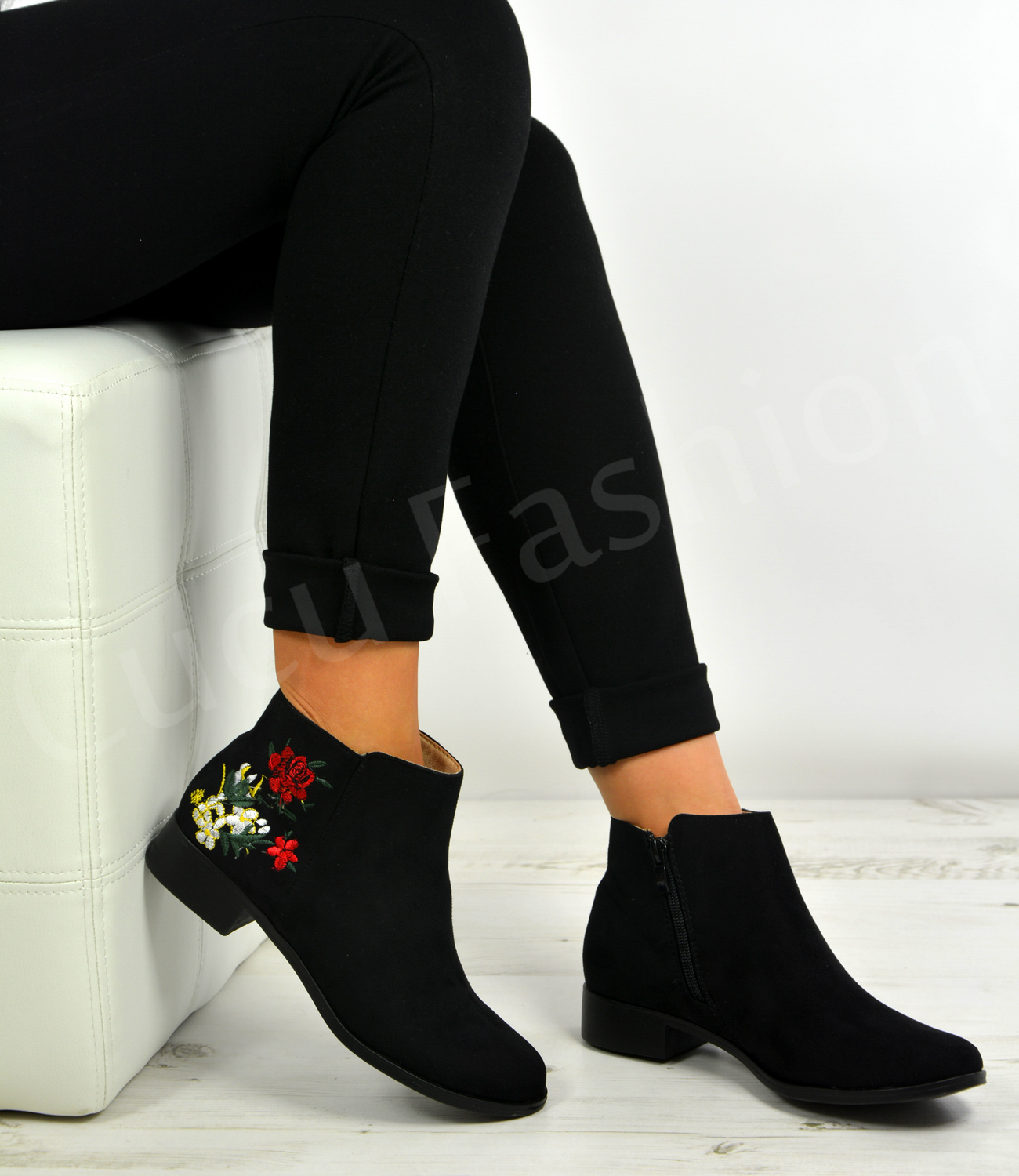 new womens ladies ankle boots embroidered flowers zip low heel