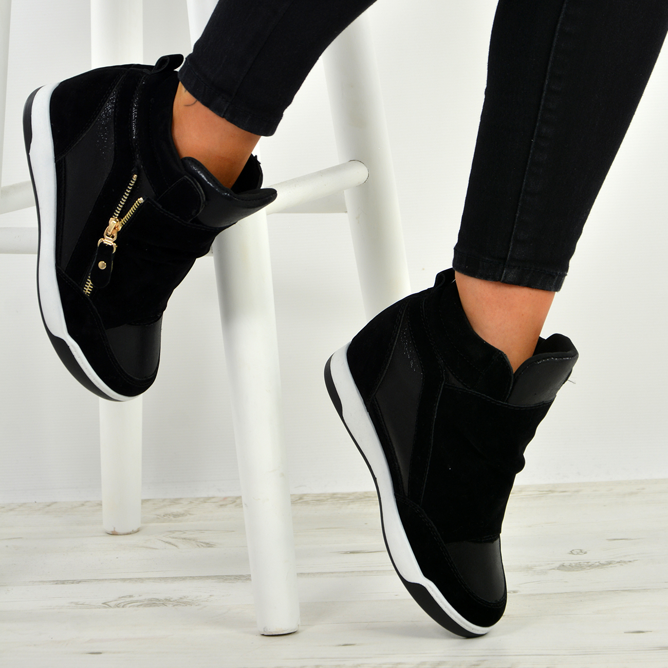 New-Womens-Wedge-Heel-Trainers-Ladies-Hightop-Ankle-Boots-Shoes-Size-Uk-3-8