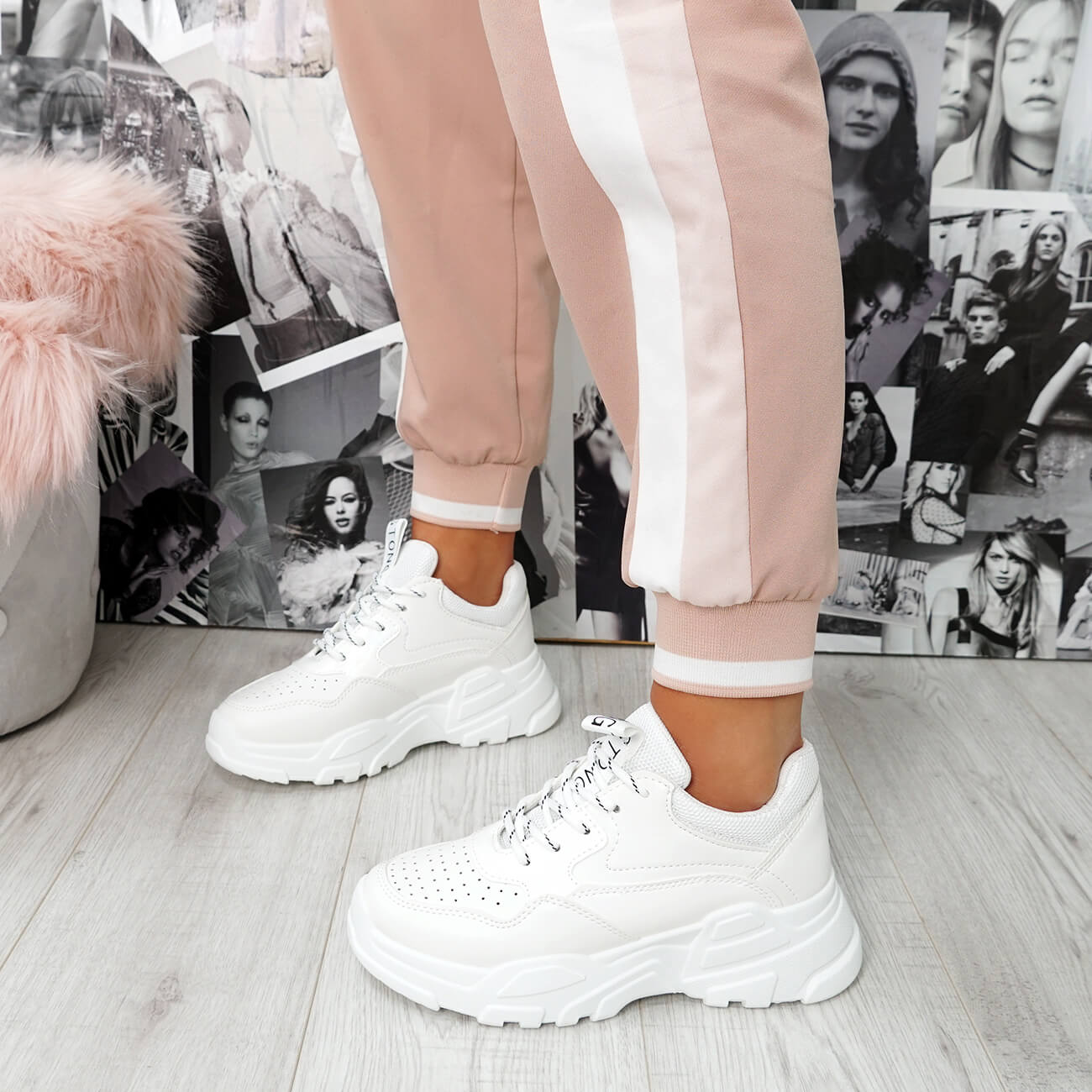 WOMENS LADIES PLATFORM CHUNKY TRAINERS LACE UP SPORTS GYM FASHION SNEAKERS SHOES