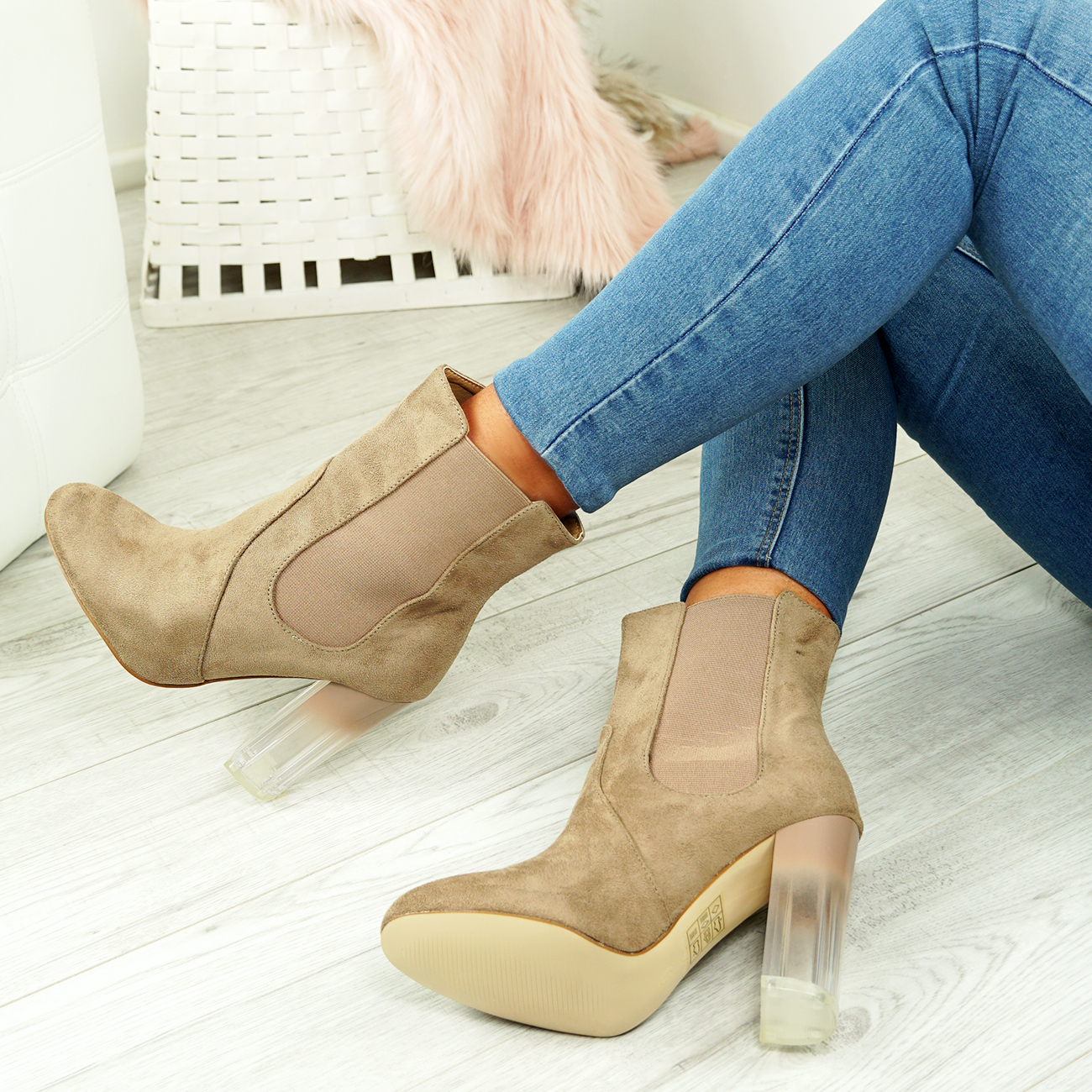 NEW-WOMENS-LADIES-CHELSEA-ANKLE-BOOTS-CLEAR-BLOCK-HIGH-HEELS-SHOES-SIZE-UK