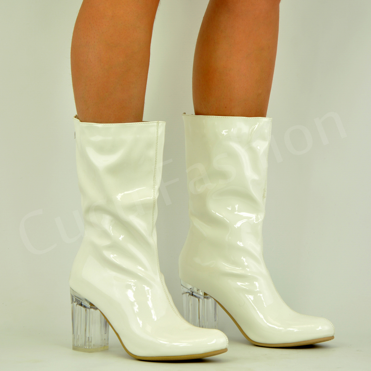 4da4b63b87 New Ankle Boots Womens Clear Block Heel Ladies Fashion Shoes Size UK ...