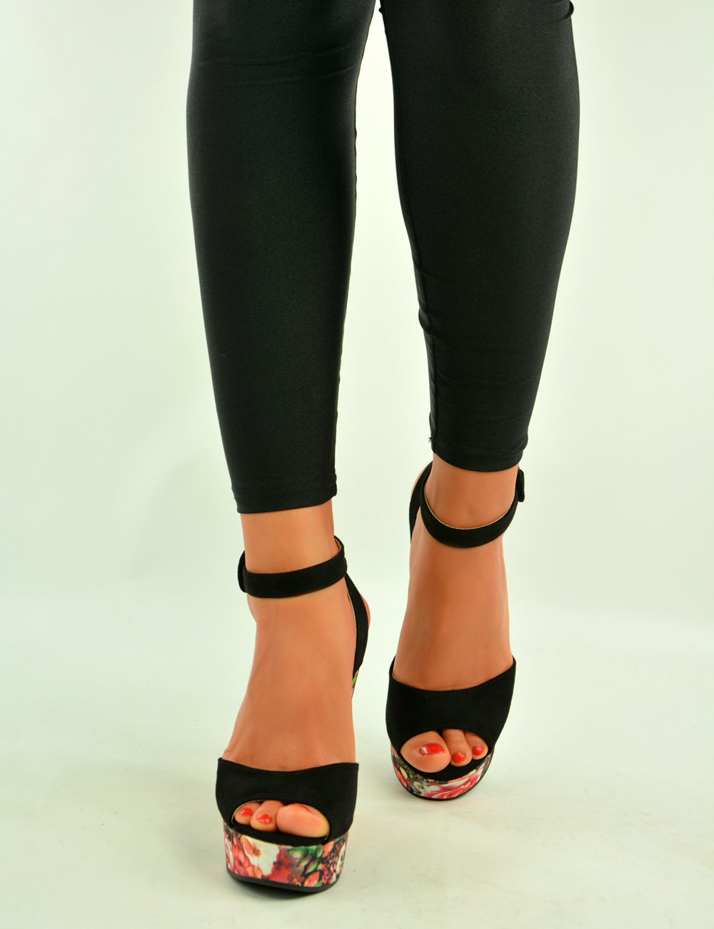New-Womens-Floral-Print-Wedges-Ladies-Ankle-Strap-Sandals-Summer-Shoes-Size-Uk
