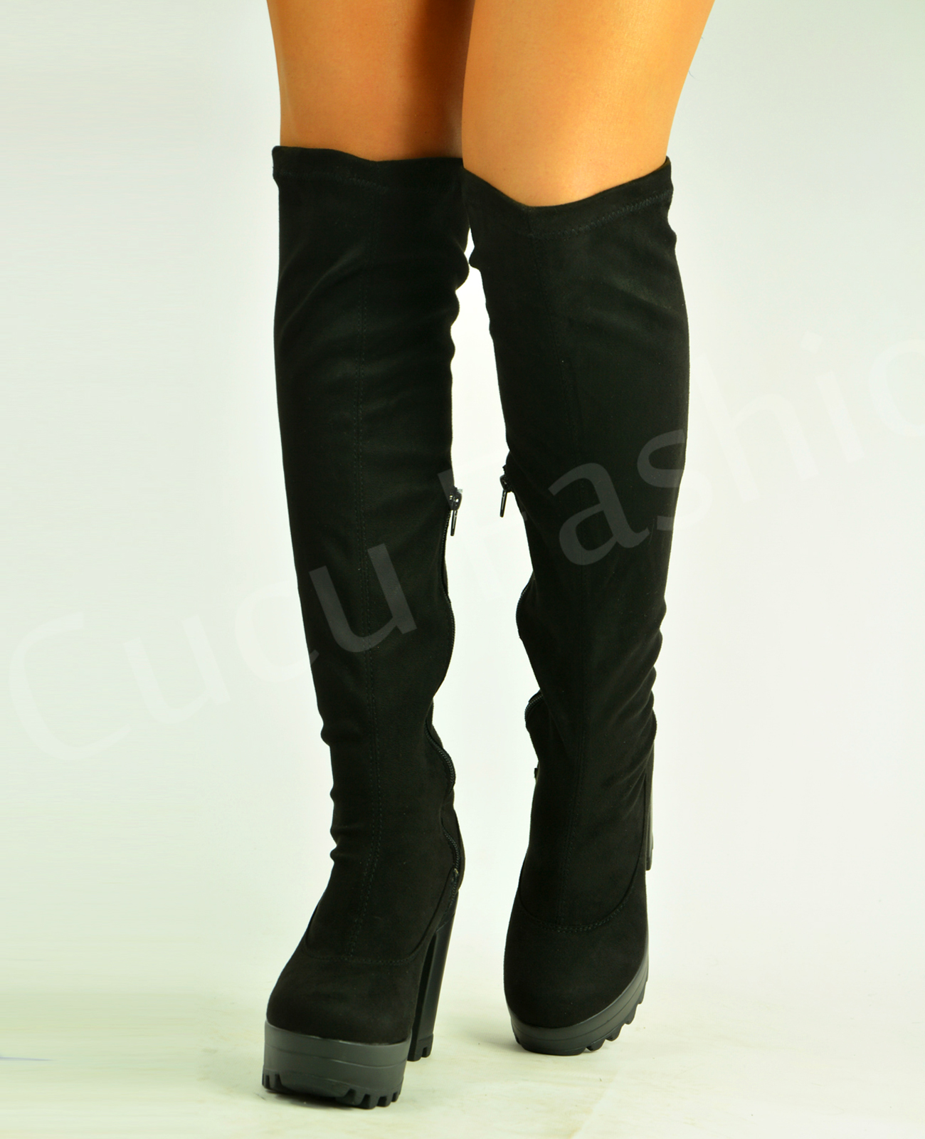 Womens-Stretch-Over-The-Knee-Boots-Ladies-Block-Chunky-High-Heel-Platforms-Size